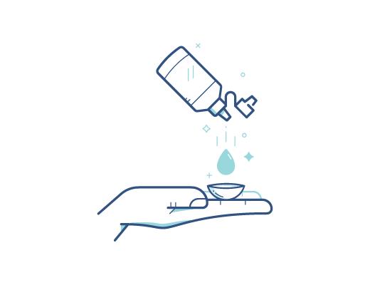 חיטוי עדשת המגע באמצעות תמיסה לעדשות מגע