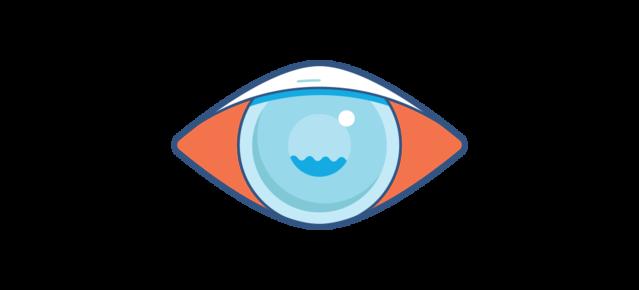איור של עין אדומה עם עכירות