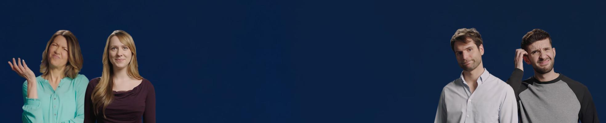 רקע כחול עם אנשים שנראים מבולבלים או מודאגים לגבי השימוש בעדשות מגע