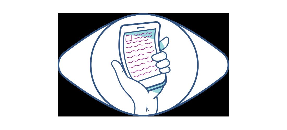 איור של טלפון נייד מעוות הנראה דרך עין